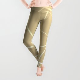 Floating Shapes Gold - Mid-Century Minimalist Graphic Leggings