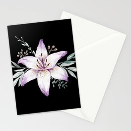 Lilium black Stationery Cards