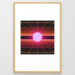 Retro 80s Grid 'Into the Void' Framed Art Print