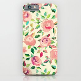 Pastel Roses in Blush Pink and Cream  iPhone Case