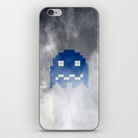 pac man iPhone & iPod Skins featuring Pac-Man Blue Ghost by Psocy Shop