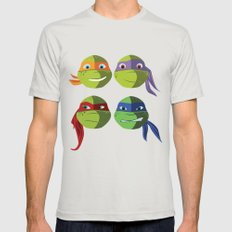 Teenage Mutant Ninja Turtles Vector Art Silver 2X-LARGE Mens Fitted Tee