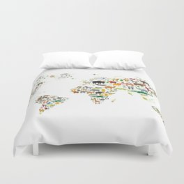 Cartoon animal world map for children and kids, Animals from all over the world on white background Duvet Cover