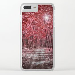 Moonlit Road Through Red Forest Clear iPhone Case