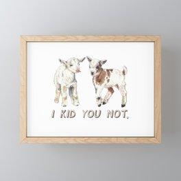 I Kid You Not: Baby Goat Watercolor Illustration Framed Mini Art Print