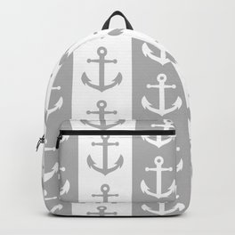 Nautical Sailor Stripes with Anchor Pattern Gray 241 Backpack