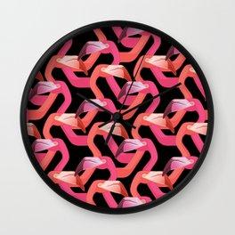 Woven flamingoes Wall Clock
