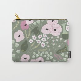 Pink Poppies - kaki floral pattern Carry-All Pouch