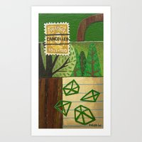 Nature Stamp Trees Wood Geometric Painting Art Print