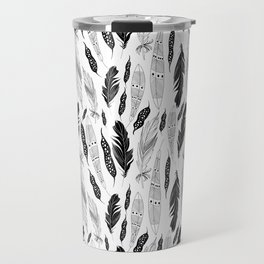 raphic pattern feathers on a white background Travel Mug