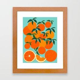 Orange Harvest - Blue Framed Art Print