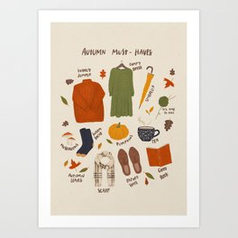 Autumn must-haves Art Print