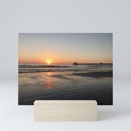 California Pier sunset in Oceanside Mini Art Print