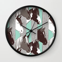 Waiting for the horse race // mint background Wall Clock