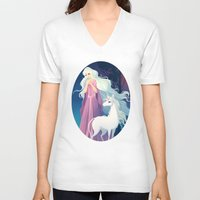 the last unicorn V-neck T-shirts featuring The Last Unicorn by Tami Wicinas