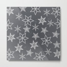 Snowflakes on grey background Metal Print