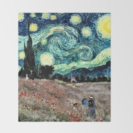 Monet's Poppies with Van Gogh's Starry Night Sky Throw Blanket