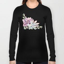 Desert Succulents on White Long Sleeve T-shirt