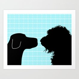 Black Labrador and Black Labradoodle Dogs Art Print