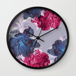 big floral on gray Wall Clock
