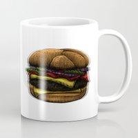 hamburger Mugs featuring Hungry Hamburger. by pexkung