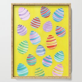 Easter Egg Watercolor Pattern -  Yellow Serving Tray