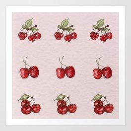 Red cherry watercolor pattern Art Print