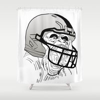 nfl Shower Curtains featuring American Football Gorilla by raeuberstochter