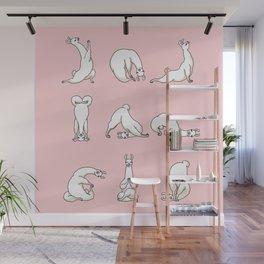 Yoga LLama in Pink Wall Mural