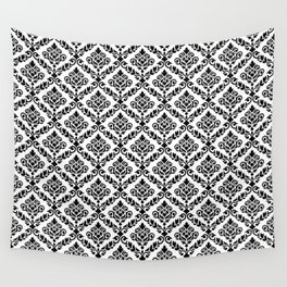 Prima Damask Pattern Black on White Wall Tapestry