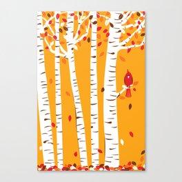 Autumn Cardinal Wall Art Canvas Print