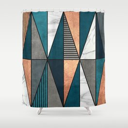 Copper, Marble and Concrete Triangles with Blue Shower Curtain
