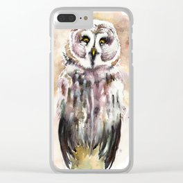 Gary The Great Gray Owl Clear iPhone Case