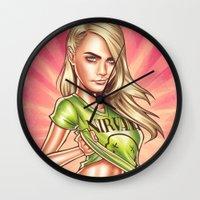 cara delevingne Wall Clocks featuring Cara Delevingne by Renato Cunha