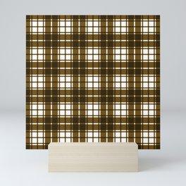 Brown and White Gingham Checkered Plaid Print Mini Art Print