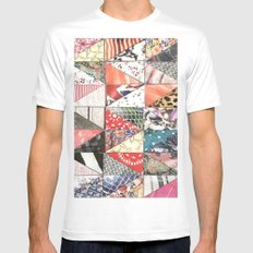 patchwork MEDIUM White Mens Fitted Tee