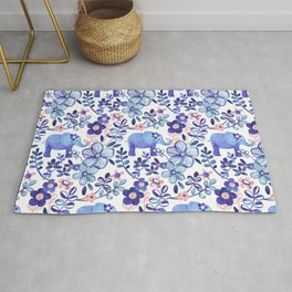 Pale Coral, White and Purple Elephant and Floral Watercolor Pattern Rug