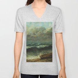 "Gustave Courbet ""The wave 1869 Philadelphia"" Unisex V-Neck"