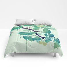 O Ginkgo (in Green) Comforters