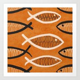 Fish Tales (Orange) Art Print