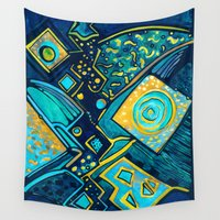 sparkles Wall Tapestries featuring GALAXY SPARKLES BLUE by Deyana Deco