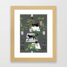 cats in the interior dark pattern Framed Art Print