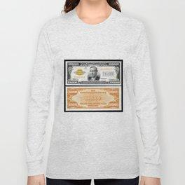 Vintage 1934 $100,000 Dollar Bill Gold Certificate Woodrow Wilson Wall Art Long Sleeve T-shirt