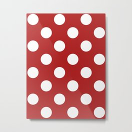 Large Polka Dots - White on Firebrick Red Metal Print