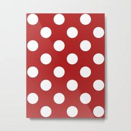 Large Polka Dots - White on Firebrick Red Metal Print