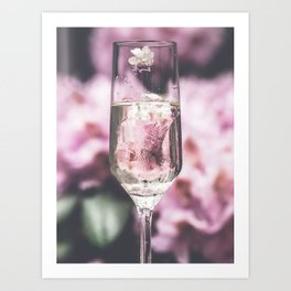 Pink Blossom Glass Cocktail Art Print