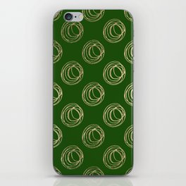 Forest green faux gold abstract geometrical swirls iPhone Skin