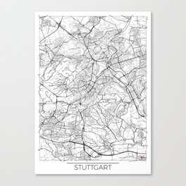 Stuttgart Map White Canvas Print