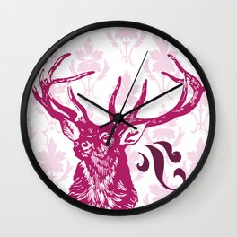 pink stag Wall Clock