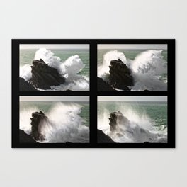 Big wave exploding in Yeu Island Canvas Print